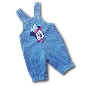 90s VTG Disney Baby Train Engineer Mickey Overalls